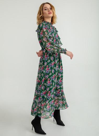 Foremia Çiçek Desen Volanlı Uzun Elbise Yeşil